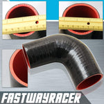Universal Black 2.0&#39&#39 to 2.5&#39&#39 4-Ply 90 Degree Silicone Hose Coupler