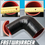 Universal Black 2.25&#39&#39 to 3.0&#39&#39 4-Ply 90 Degree Silicone Hose Coupler