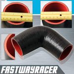 Universal Black 2.5&#39&#39 to 2.75&#39&#39 4-Ply 90 Degree Silicone Hose Coupler