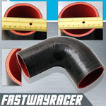 Universal Black 2.5&#39&#39 to 3.0&#39&#39 4-Ply 90 Degree Silicone Hose Coupler