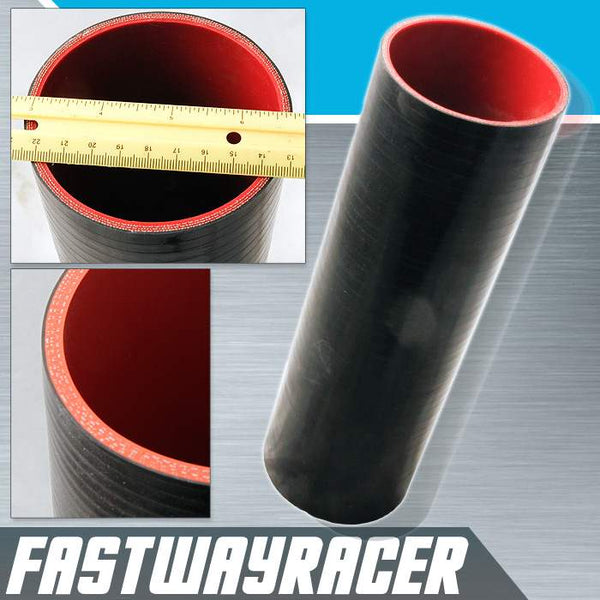 Universal Black 3.5&#39&#39 X 12&#39&#39 4-Ply Straight Silicone Hose Coupler