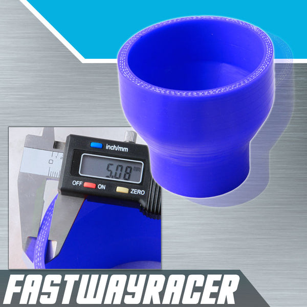 Universal Blue 1.75&#39&#39 to 3.0&#39&#39 3-Ply Reducer Silicone Hose Coupler 44.5MM to 76MM