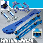 96-00 Honda Civic EK Blue Subframe Brace & Front Upper Control Arm & Rear Lower Control Arm & Rear Camber Kit