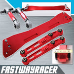 92-95 Honda Civic EG Red Rear Subframe Brace & Rear Lower Control Arm & Rear Camber Kit