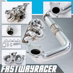 88-00 Honda Civic B16/B18/B20 Stainless Steel Ram Horn Turbo Manifold & 2.5&#39&#39 Passenger Side Downpipe