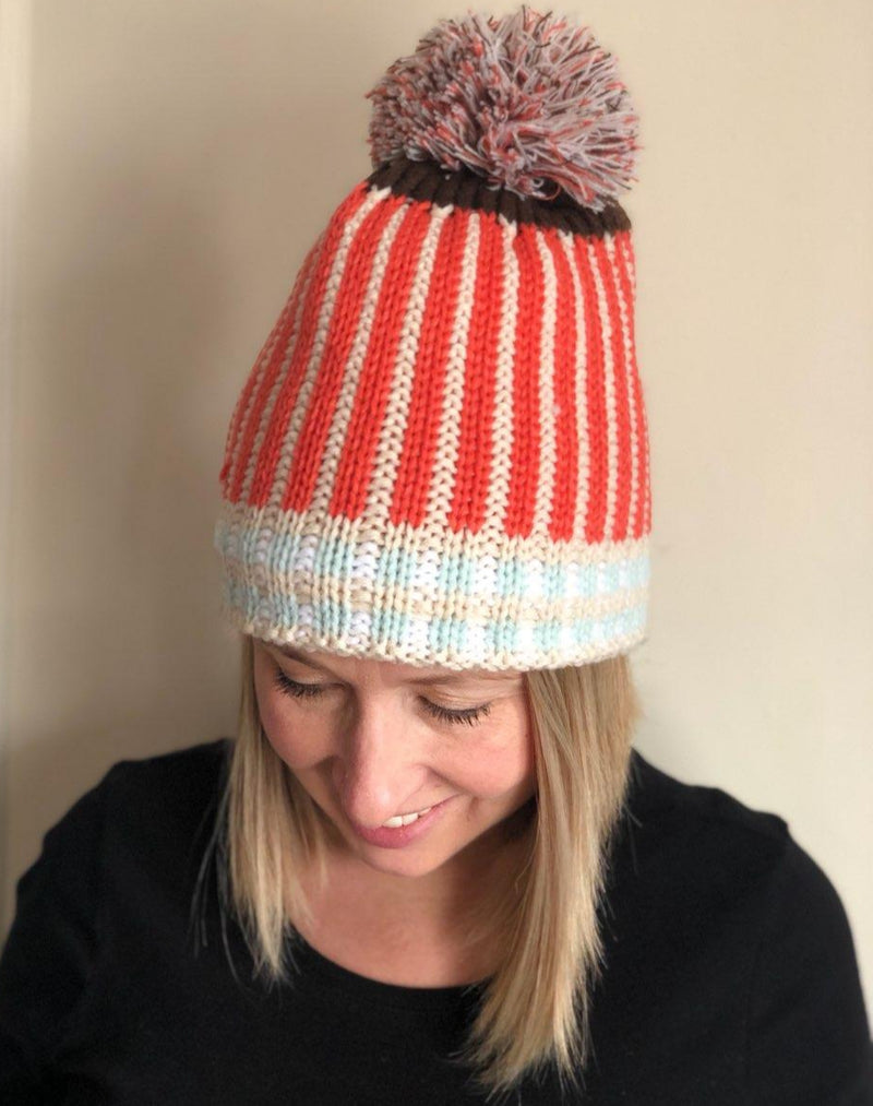 Striped Knit Fleece-Lined Hat