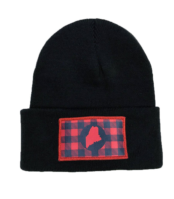 Buffalo Plaid Maine knit beanie