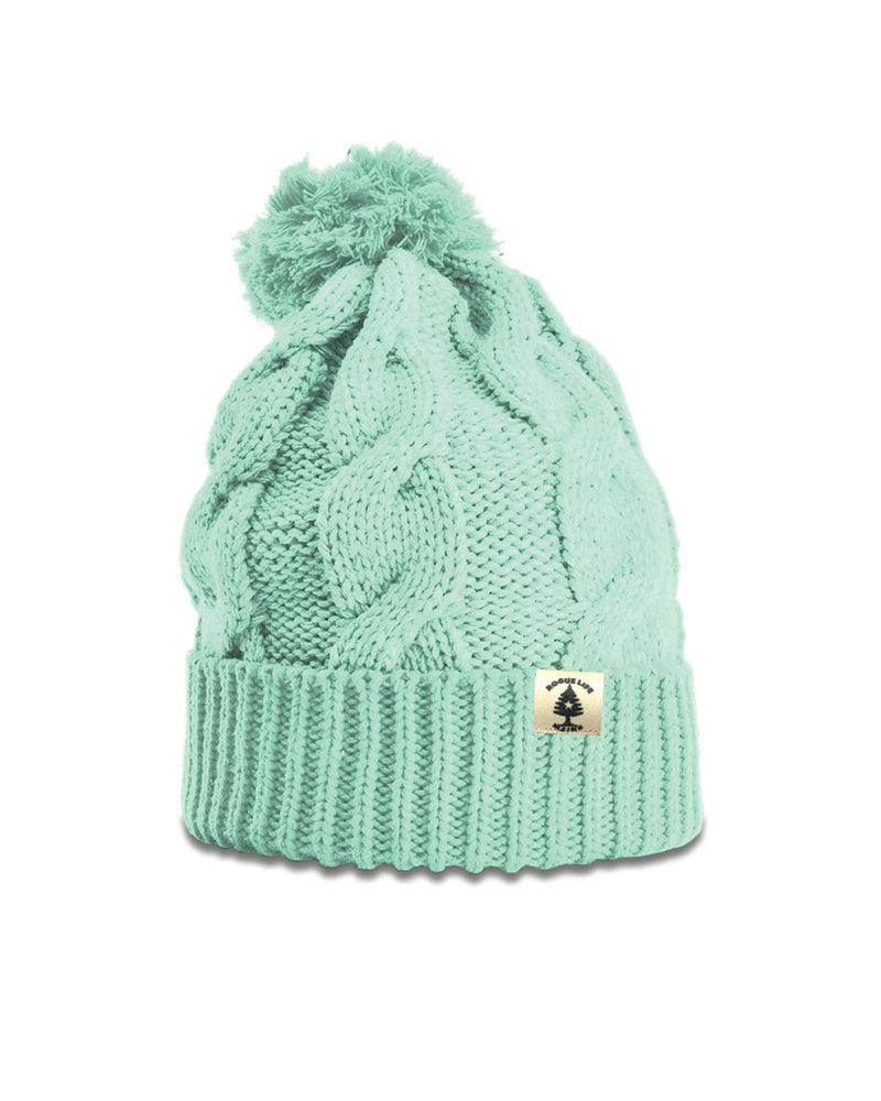 Leather Patch Rogue Maine Life Chunk Knit Pom Hat - Seafoam Mint