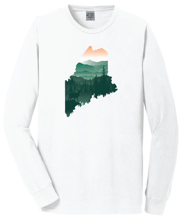 Scenic Maine Deer long sleeve T-Shirt