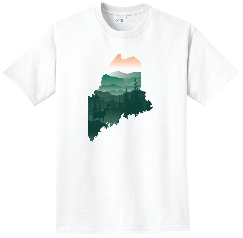 Scenic Maine Deer short sleeve T-Shirt