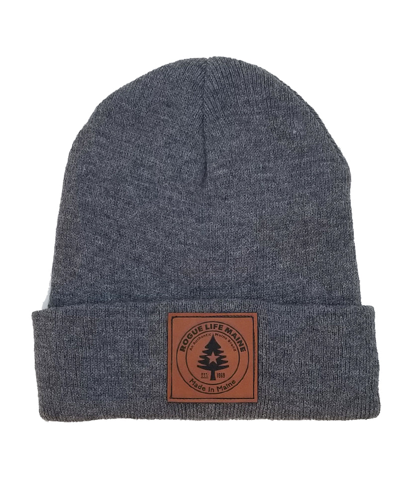 Leather Patch Rogue Life Fleece-Lined Knit Hat - Oxford Grey