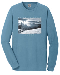 """Happy Place"" Snow Mountain Long Sleeve T-Shirt"