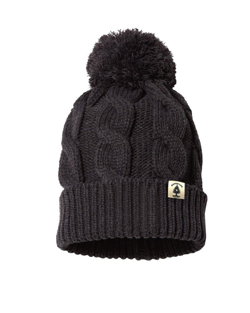 Leather Patch Rogue Life Maine Chunk Knit Pom Hat - Heather Charcoal