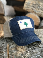 Maine Flag Denim Trucker Hat
