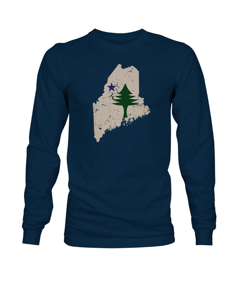 Kids Maine State Flag Navy Blue Long Sleeve T-Shirt