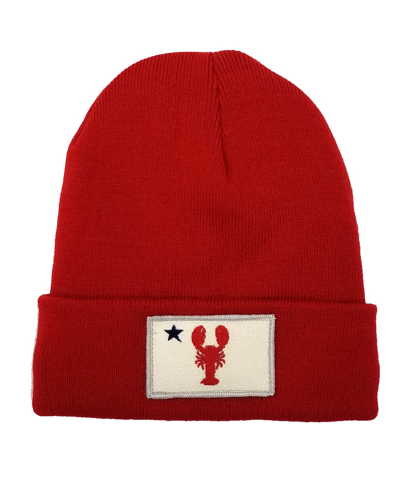 New Lobster Maine Flag Knit Hat-Red