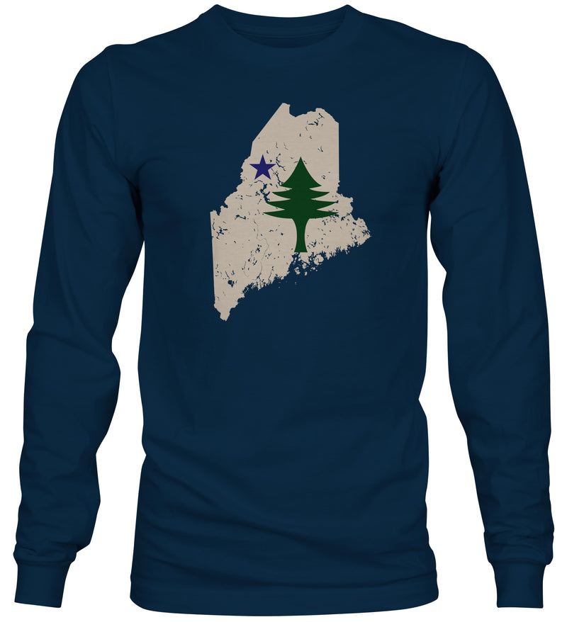 Maine State Flag Navy Blue Long Sleeve T-Shirt