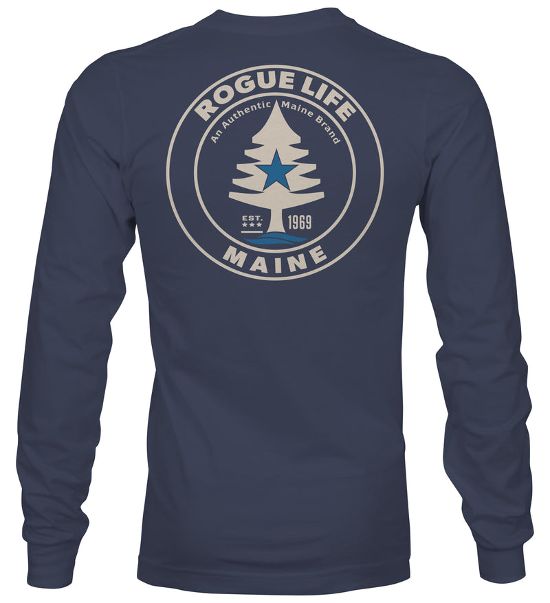 Rogue Life Maine Denim Blue Long Sleeve T-Shirt