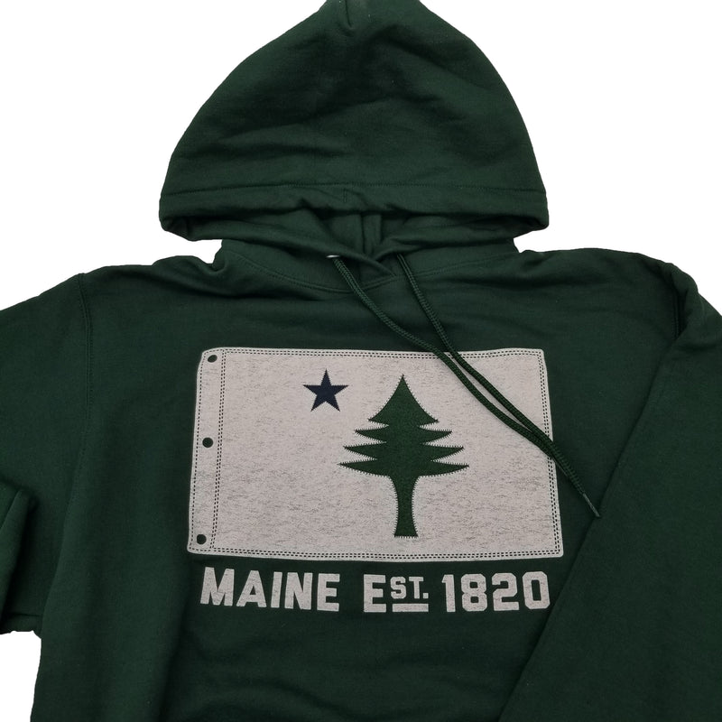 New Maine State Flag Est 1820 Hoodie-Hunter Green