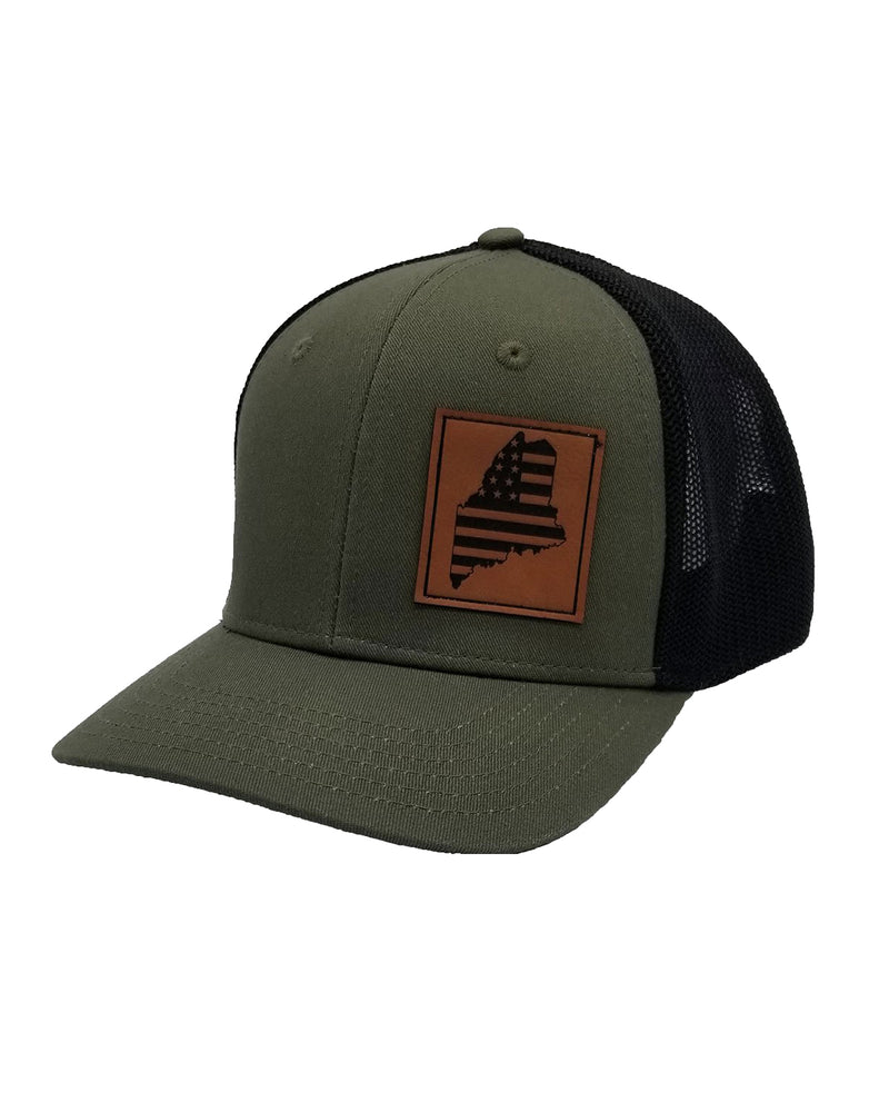Rogue Life Maine USA Flag Trucker Hat Olive Black