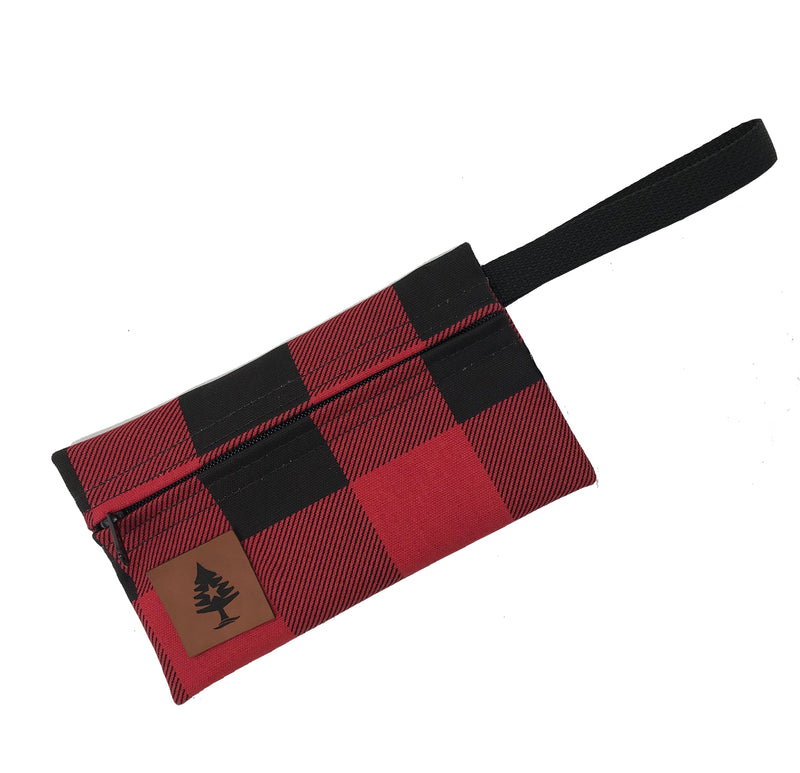 Red & Black Buffalo Plaid Wristlet