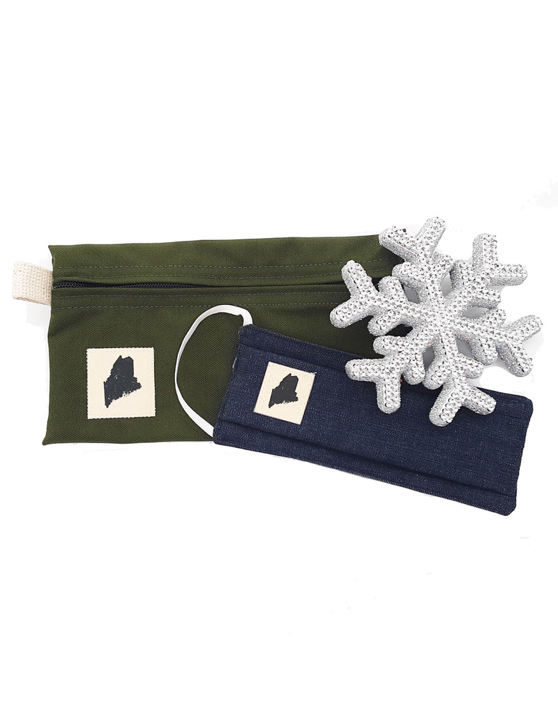 Maine State Canvas Pouch and Face Mask Gift Set