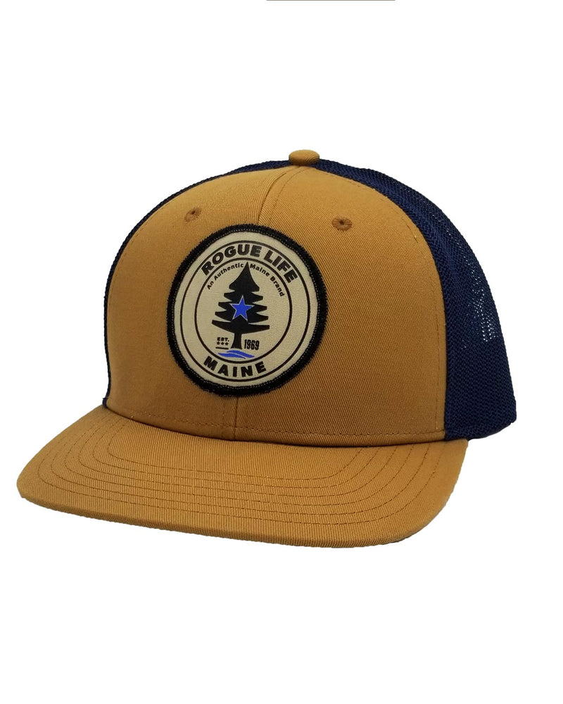 Rogue Life Trucker Hat Old Gold-Navy