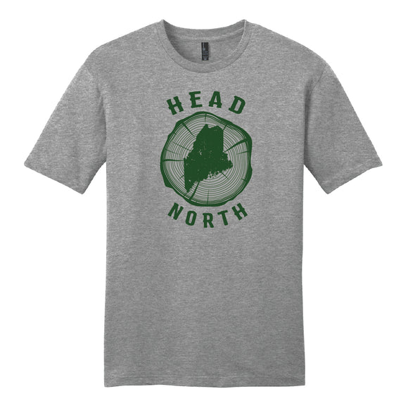 Head North Dark Green on Light Grey Unisex S/S Tee