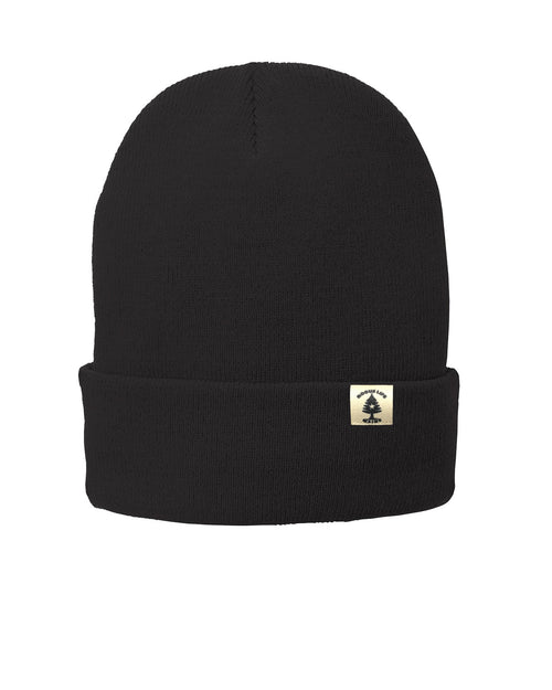 Leather Patch Rogue Life Fleece-Lined Knit Hat - Black