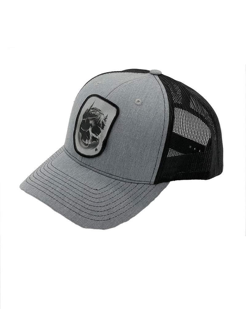 Matthew Brown Skull Trucker Hat GREY-BLACK