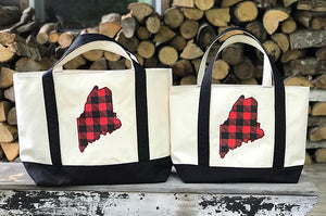 MAINE BUFFALO PLAID TOTES