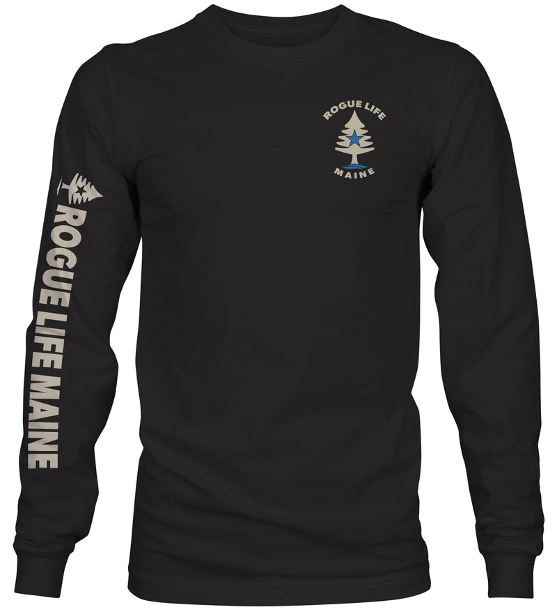 Rogue Life Maine Black Long Sleeve T-Shirt