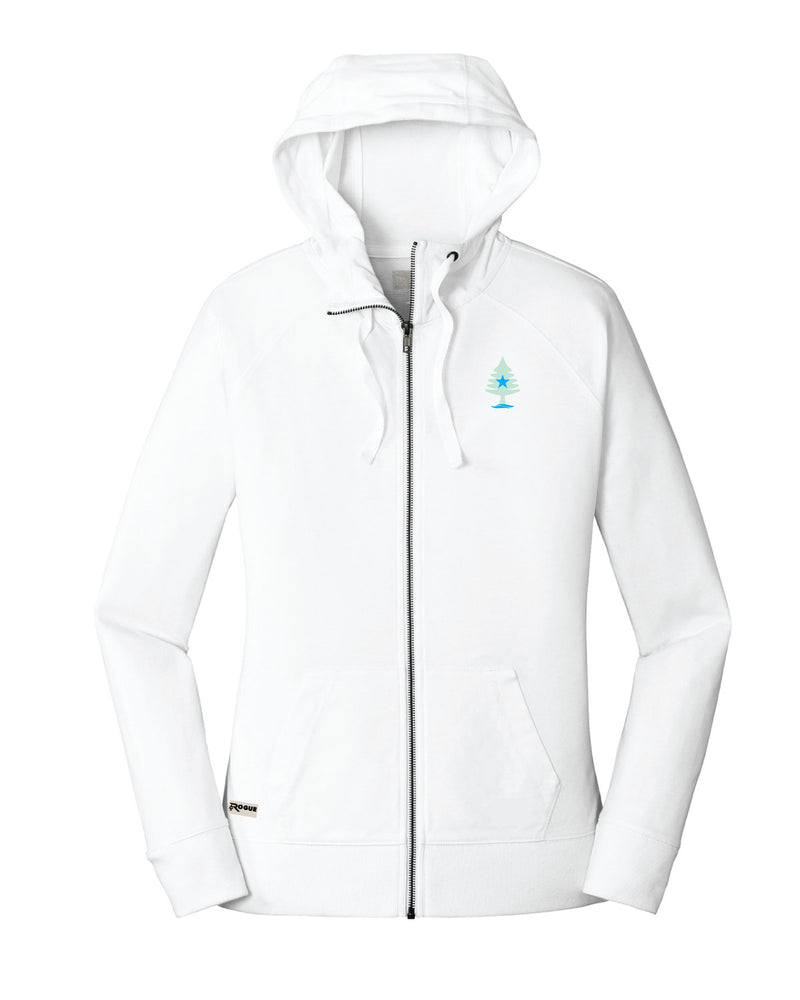 Ladies Sueded Cotton Blend Full-Zip White Hoodie