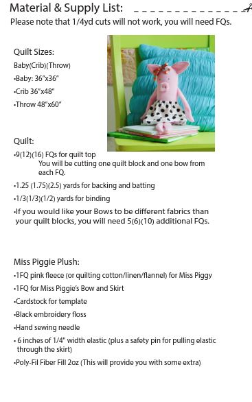 Baby Bow Quilt + Miss Piggie Plush PAPER Pattern
