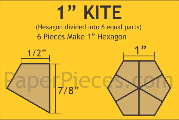 "1"" Hexagon Kite Paper Pieces"