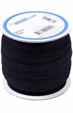 3/4in (20mm) Fold-over Elastic in Black