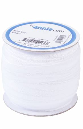3/4in (20mm) Fold-over Elastic in White
