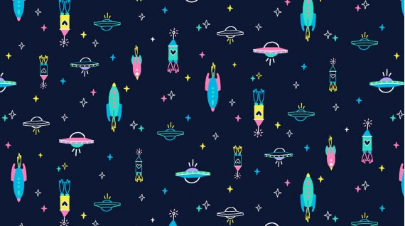 Spaceships - Midnight $11.00/yd