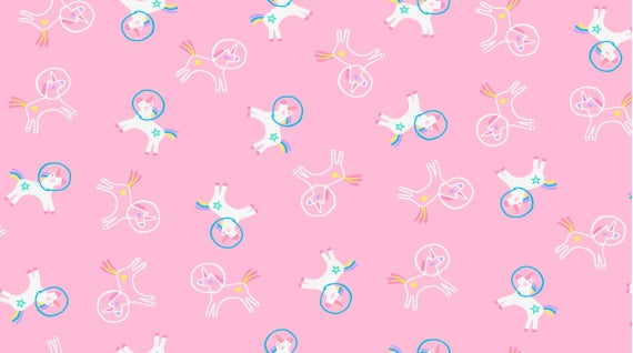 Unicorns in Space - Bubblegum $11.00/yd