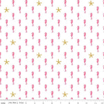 Seahorse White Sparkle - Baby Pink $11.40/yd