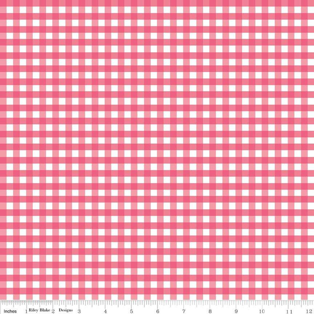 "Gingham - Raspberry 1/4"" $10.40/yd"