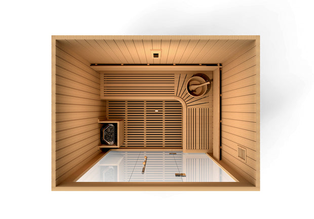 "Golden Designs ""Copenhagen Edition"" 3 Person Traditional Steam Sauna - Canadian Red Cedar"