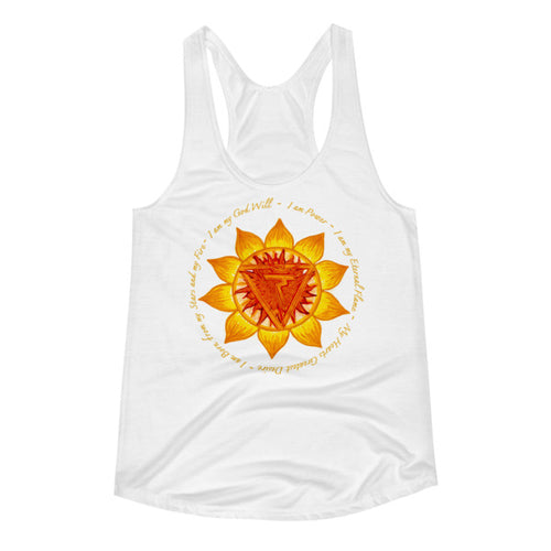 Solar Plexus w/ 7 Chakras on back Women's Racerback Tank