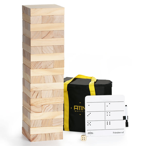 A11N SPORTS Sporting Goods > Outdoor Recreation > Outdoor Games > Lawn Games Friendswood Classic Wooden Stacking Tumbling Tower Game - Large Size Builds to 3 Feet