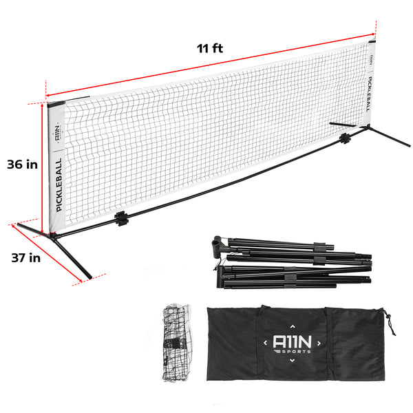 A11N SPORTS Sporting Goods > Outdoor Recreation > Outdoor Games > Pickleball 11ft Portable Half Court Size Pickleball Net