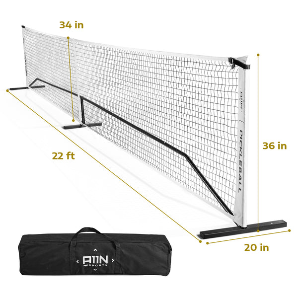 A11N SPORTS Sporting Goods > Outdoor Recreation > Outdoor Games > Pickleball 22ft Portable Pickleball Net System, Official Size, White & Black