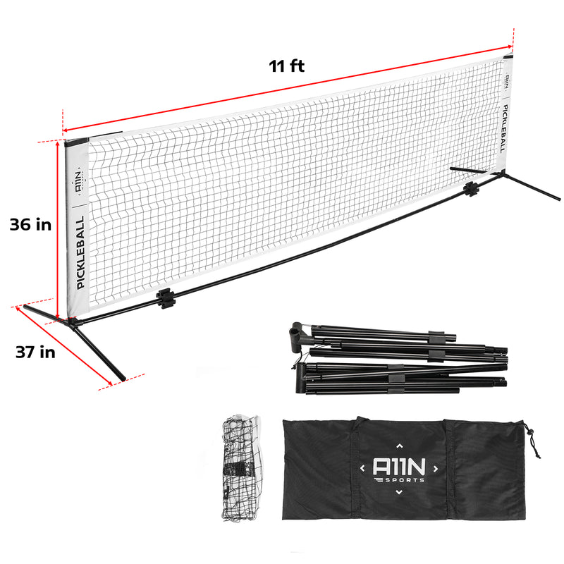 A11N SPORTS Sporting Goods > Outdoor Recreation > Outdoor Games > Pickleball 11ft Net Pickleball Bundle Set with 2 Graphite Paddles 4 Balls Combo