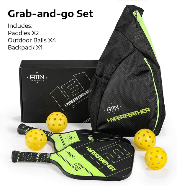 HyperFeather SE Pickleball Paddles Set of 2 (inc. 2 Pickleball Paddles, 1 Sling Bag, 4 Outdoor Balls