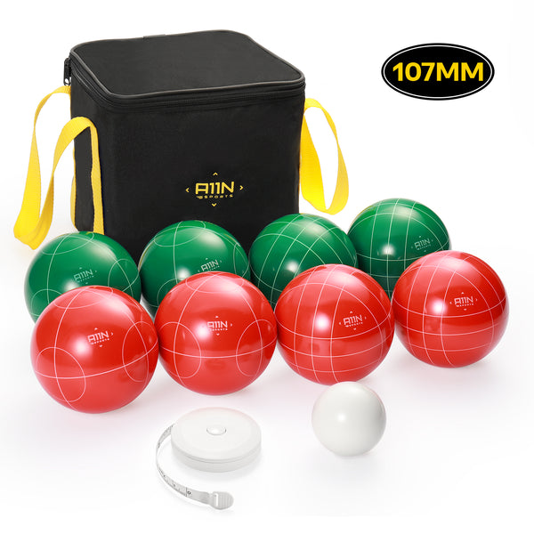 107mm Bocce Ball Game Set with 8 Balls, Pallino, Case and Measuring Rope