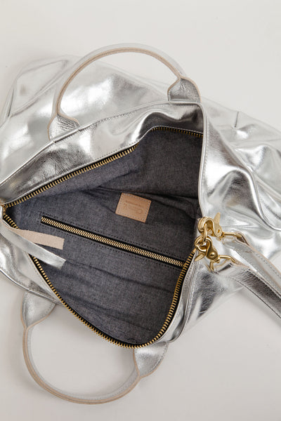 Clare V. / Messenger Tote in Silver
